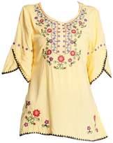 Kafeimali Women's Embroidery Mexican Bohemian Cotton Tops Shirt Tunic Blouses