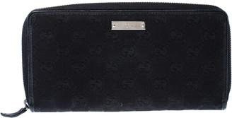 Gucci Black GG Canvas Zip Around Wallet
