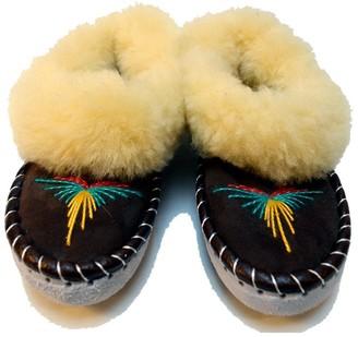 Mahala - Handmade Sheepskin Slippers - UK 8 - Black/Yellow