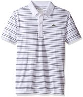 Lacoste Men's Golf Performance Golf Short Sleeve Textured Stripe Ultradry Polo Shirt