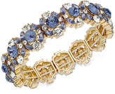 Charter Club Gold-Tone Crystal & Blue Stone Stretch Bracelet, Created for Macy's