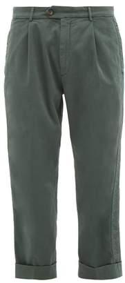 J.w.brine J.W. Brine J.w. Brine - Chelsea Turn Up Cuff Cotton Blend Trousers - Mens - Green