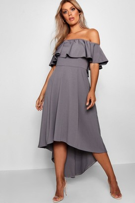 boohoo Plus Liz Off Shoulder Dropped Hem Midaxi Dress