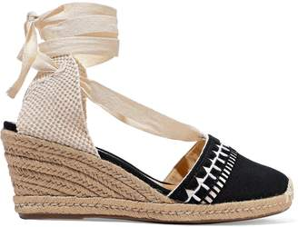Schutz Woven And Embroidered Canvas Wedge Espadrilles