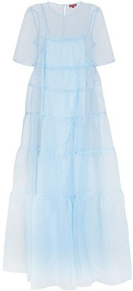 STAUD Organza Tiered Maxi Dress
