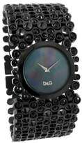 Dolce & Gabbana Ladies Risky Quartz Watch DW0245 with Black Analogue Dial, Black Ip Case and Bracelet With Stones
