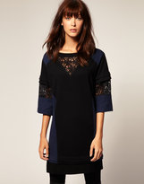 Sweatshirt Dress With Lace Insert