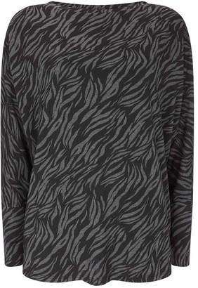 Mint Velvet Black & Grey Zebra Batwing Top