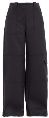 Ganni Cargo-pocket Wool-blend Wide-leg Trousers - Navy