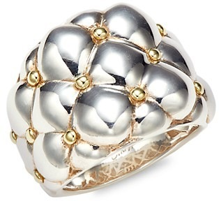 Charles Krypell Sterling Silver 18K Yellow Gold Wide Ring