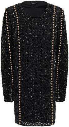 Balmain Embellished Sequined Tulle Mini Dress