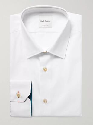 Paul Smith White Slim-Fit Contrast-Cuff Cotton-Poplin Shirt