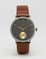 Asos Watch in Gray With Gold Faux Sub Dial
