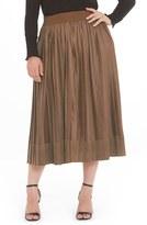 Plus Size Women's Elvi Contrast Pleated Skirt