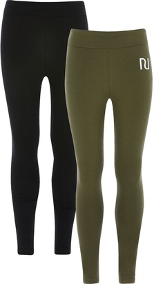 River Island Girls Khaki RI fold over leggings 2 pack