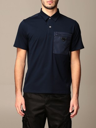 Prada Cotton Piqueacute; Polo Shirt With Nylon Pocket