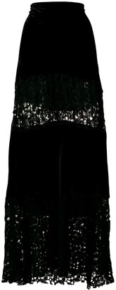 Romeo Gigli Pre Owned Lace-Embroidered Maxi Skirt