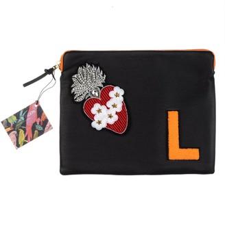 Laines London Embellished Flower Heart Personalised Classic Leather Clutch Bag - Large - Black & Orange