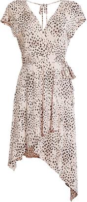 BCBGMAXAZRIA Painted Animal Wrap Dress