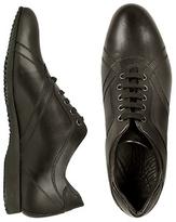 Brunori Black Italian Smooth Leather Lace-up Shoes
