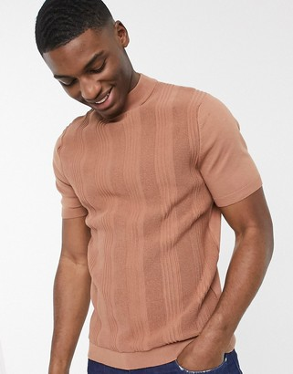 Topman knitted t-shirt in brown