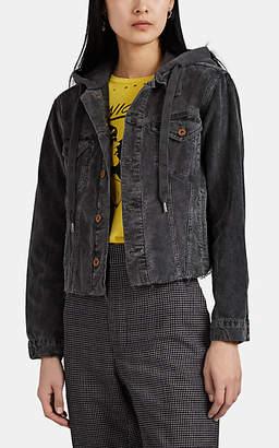 NSF Women's Rusty Cotton Corduroy Crop Trucker Jacket - Black