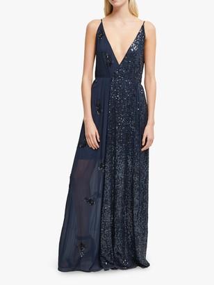 French Connection Aurora Embellished V-Neck Dress, Mid Blue