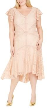 Taylor Plus Size Flutter-Sleeve Lace Dress