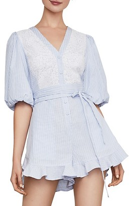BCBGMAXAZRIA Mini Floral Striped Cotton Blend Romper