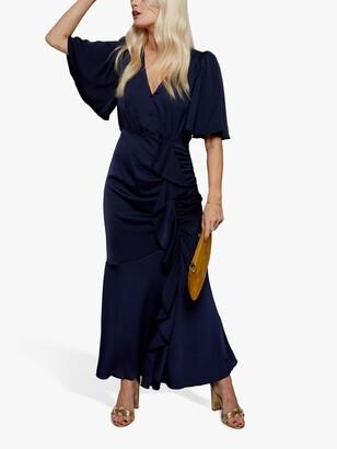 Little Mistress Pleat Detail Satin Maxi Dress, Navy