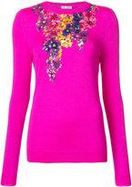 Oscar de la Renta floral-embellished sweater