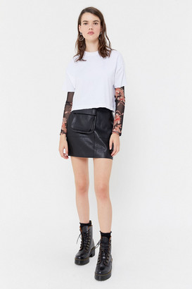 Urban Outfitters Adrienne Belted Faux Leather Mini Skirt