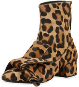 No.21 No. 21 Leopard-Print Calf Hair Bow Boot