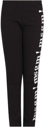 MSGM Black Girl Leggings With White Times New Roman Logos