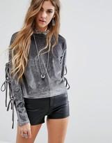 Glamorous Velvet Sweatshirt With Tie Sleeves