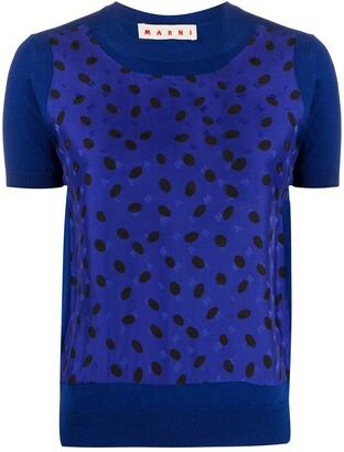 Marni Polka Dot And Logo Print Blouse