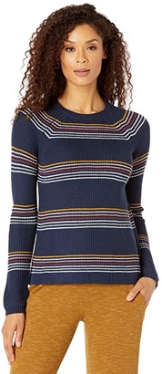 Carve Designs Cabana Sweater (Navy Rainbow Stripe) Women's Clothing
