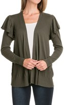 August Silk Ruffled Sleeve Cardigan Sweater - Open Front (For Women)