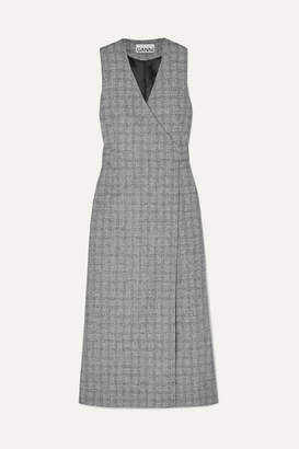 Ganni Prince Of Wales Checked Twill Wrap Dress - Gray