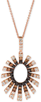 "LeVian Le Vian Chocolate Layer Cake Diamond Sunburst 20"" Pendant Necklace (1-1/2 ct. t.w.) in 14k Rose Gold"