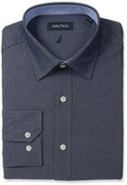 Nautica Men's Solid Shirt with Spread Collar with Blue Texture