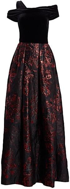 Theia Velvet & Brocade Ball Gown
