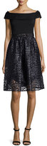 Rickie Freeman For Teri Jon Off-the-Shoulder Combo Lace Cocktail Dress