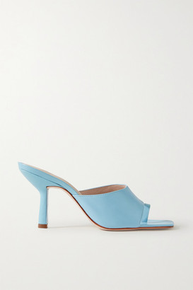 Porte & Paire - Leather Mules - Sky blue