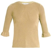 RED Valentino Ruffled-cuff ribbed-knit sweater