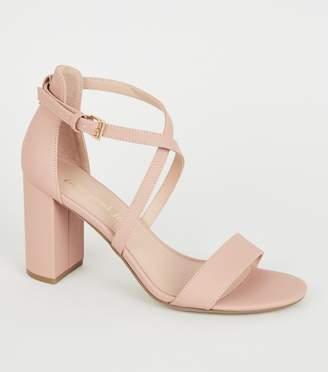 New Look Suedette Cross Strap Block Heels