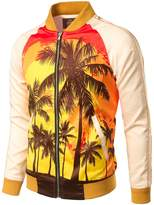 JOGAL Mens Zipper Bomber Jacket Lettermen Style Sunset Coconut Tree Couples Top