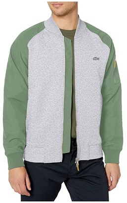 Lacoste Long Sleeve Color-Block Bomber Elephant Skin and Nylon Patched Pocket Chic (Silver Chine/Thyme) Men's Clothing
