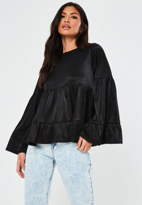 Missguided Black Jersey Round Neck Smock Top