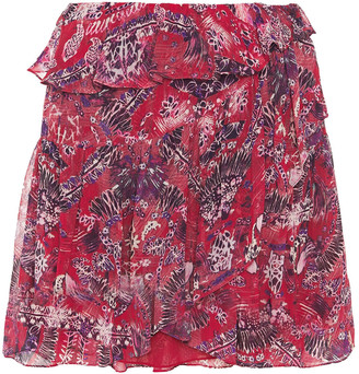 IRO Tingo Wrap-effect Printed Georgette Mini Skirt